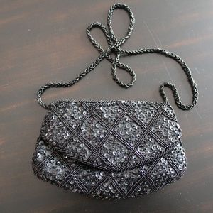 Vintage Beaded Sequined Black Pearl Evening Bag